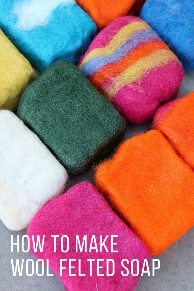 Felted soap is a bar of soap wrapped in wool and wet felted. The wool serves as a washcloth built into your bar of soap. Learn how to make felted soap with clear, simple instructions. #feltedsoap #wool #howtofeltsoap #soapmaking #handmade