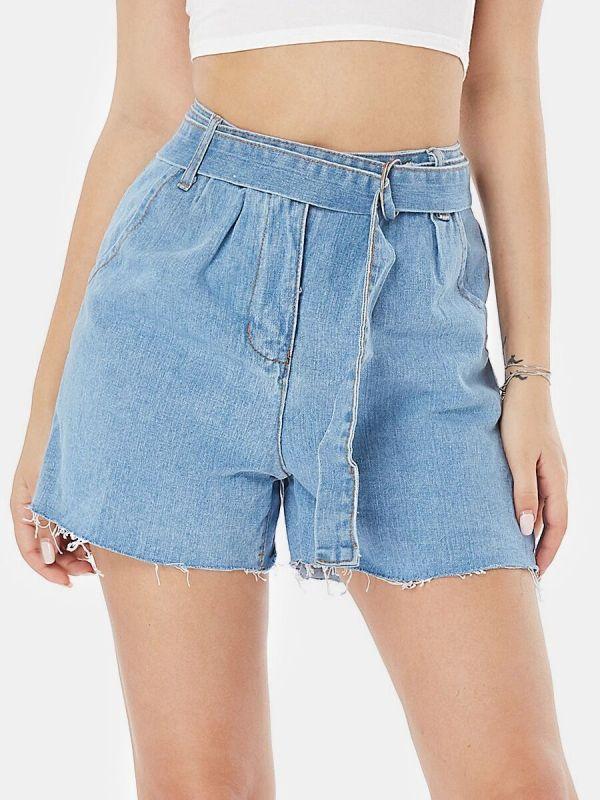 Belt Waist Denim Shorts