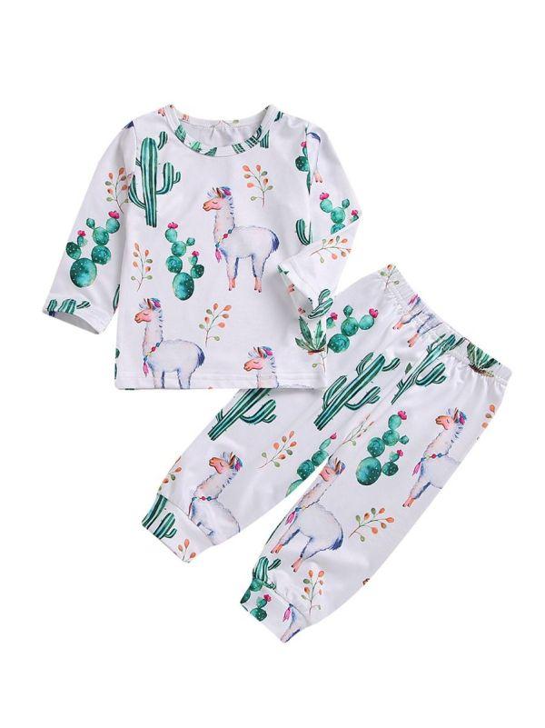 2-Piece Fall Baby Cactus Alpaca Print Tee & Pants Set