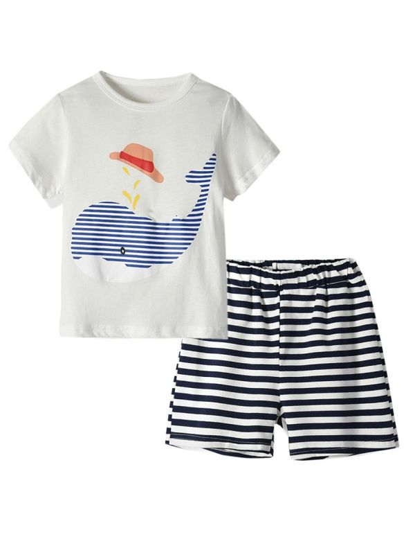 2-Piece Baby Toddler Boys Dolphin Stripe Homewear Set