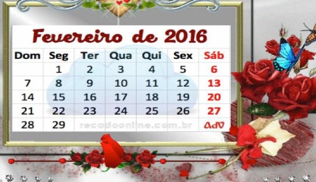 Calendário de Fevereiro 2016