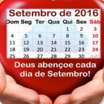 Calendário de Setembro com oração