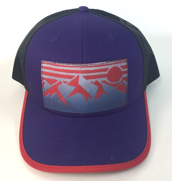 Front view of Purple Cotton Front with Mountain Print hat
