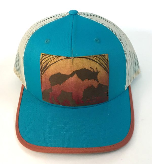 Front view of Bright Blue Cotton Front, Mountain Goat Print hat