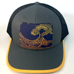 Front view of Grey Cotton Front Great Wave Print hat