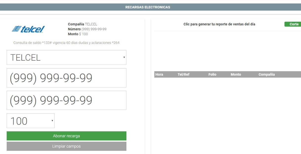 Imagen de venta de recargas electronicas telcel en nuestro sistema