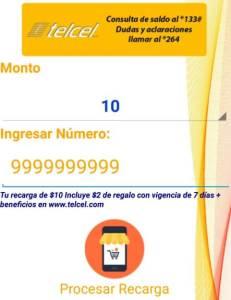 seleccionamos el monto y numero a 10 digitos para la venta de tiempo aire telcel por app android