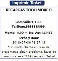 ticket de venta de recarga telcel por internet