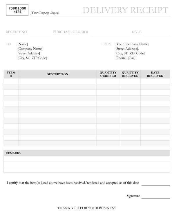 Delivery Form Template. fee receipt format editable receipt ...