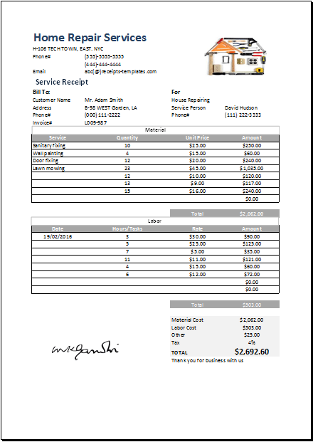 Receipt For Payment Template ms excel home repair receipt – Receipt for Payment