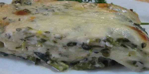 Lasanha de Brócolis com Molho Branco