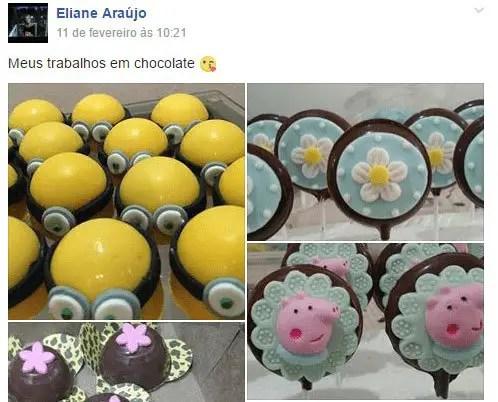 Chocolates feitos pela Eliane