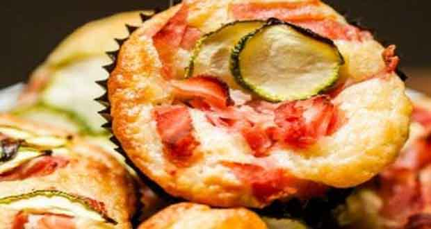 Receita de Cupcake Salgado de presunto e abobrinha - Bruschetta de Tomate com Queijo Gruyère e Manjericão