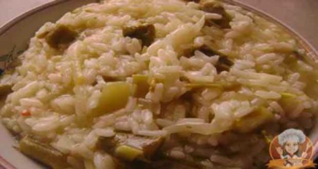 Receita de Risoto de aspargos verdes - Risoto de Gorgonzola com Alho Poró