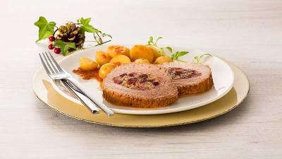 Lagarto Recheado com Bacon e Uva Passa