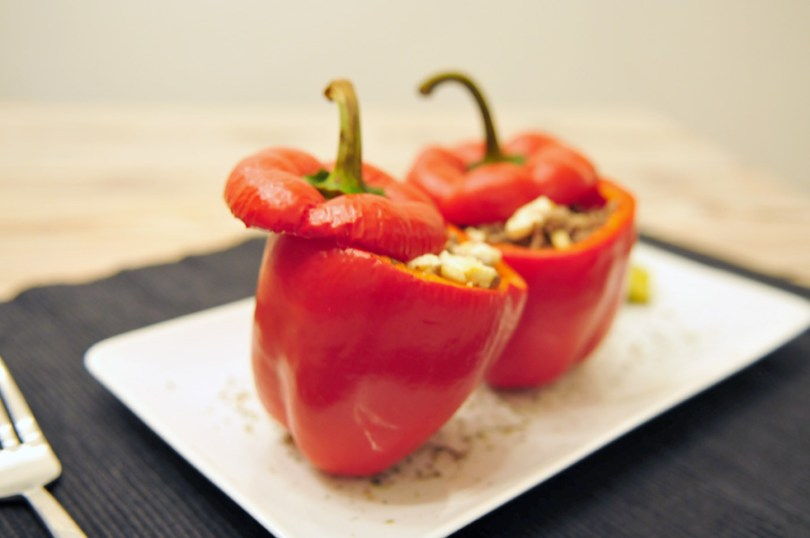 Gevulde paprika met gehakt feta en gember