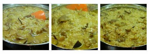 Incorporación del caldo al risotto