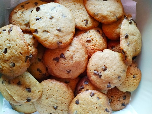 Cookies con pepitas de chocolate. recta americana