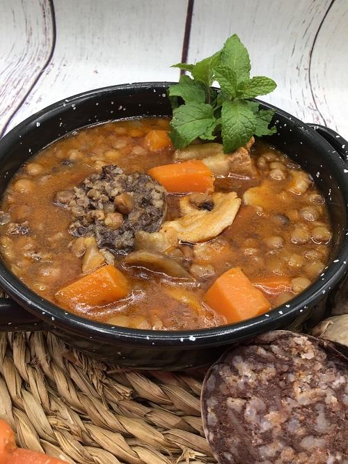 Lentejas con morcilla de Burgos en olla crock Pot