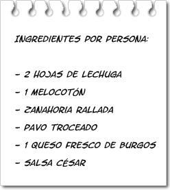 Ingredientes Ensalada con Melocotón