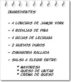 Ingredientes Rollitos de Jamón York Rellenos