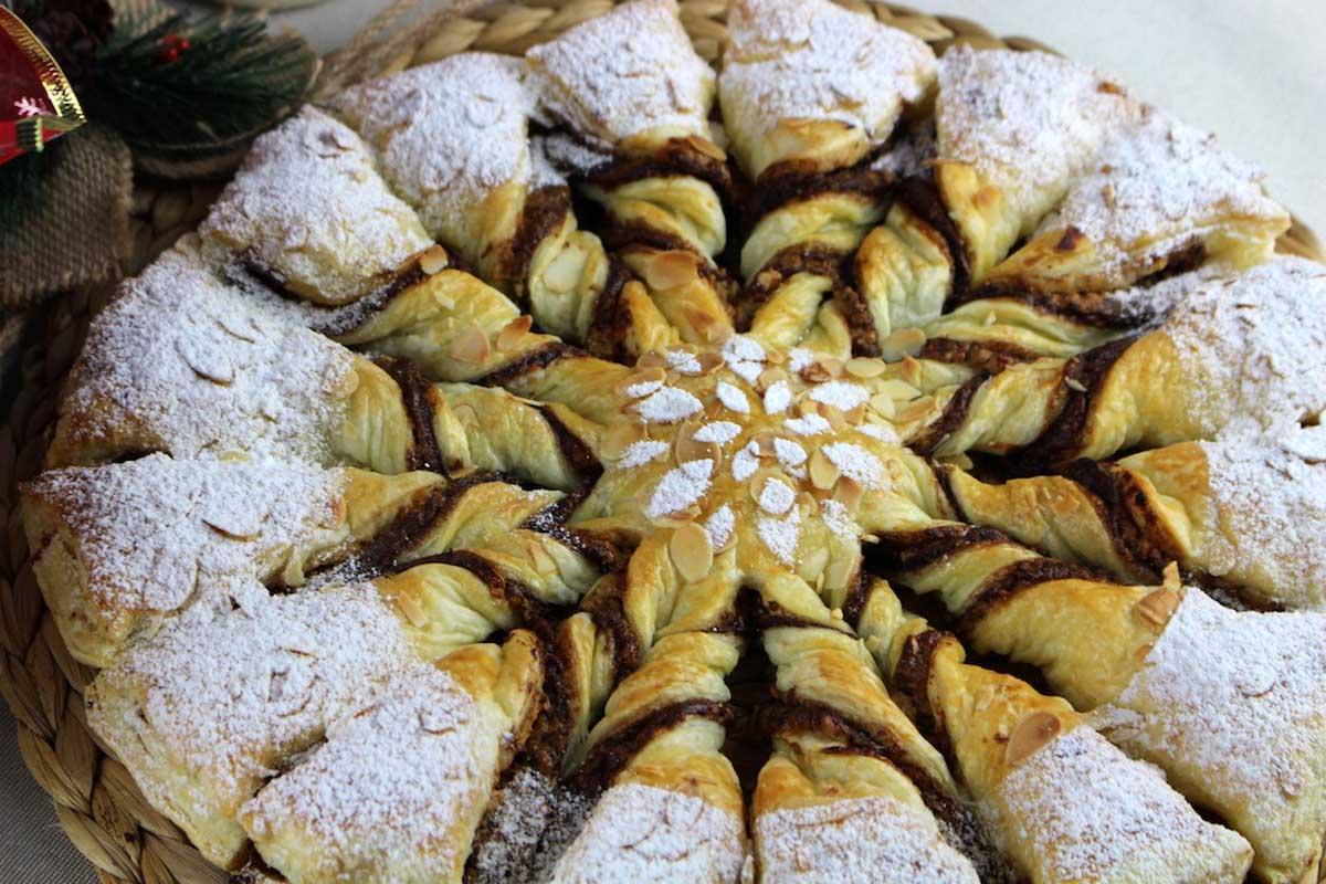 Estrella de hojaldre con nutella y turrón para Navidad sin lactosa