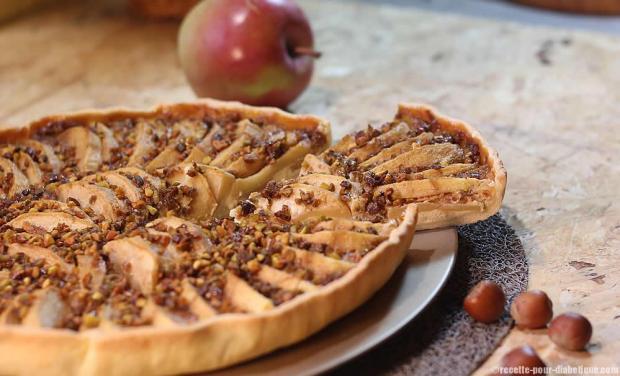 tarte aux pommes allégée et noisettes