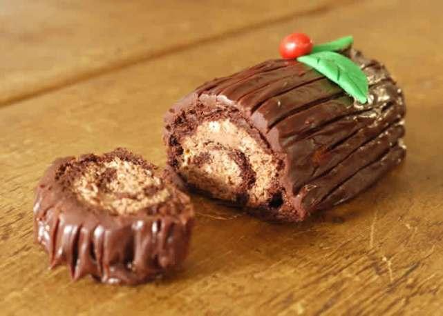 Mini bûche au chocolat et amaretto - bûche chocolatée pour noël 2020.