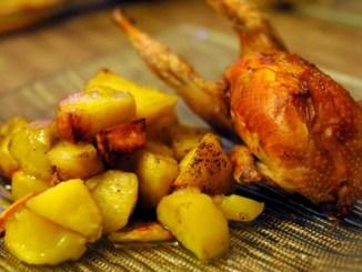 Cailles au four et pommes de terre