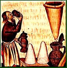 Image médiévale avec un individu buvant un breuvage