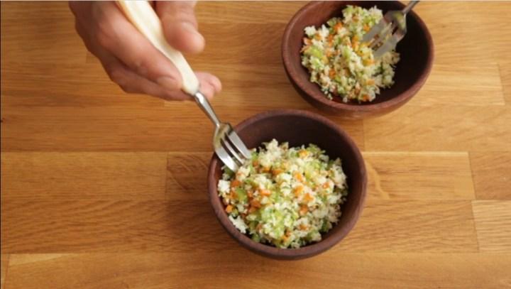 cous-cous de coliflor con verduras