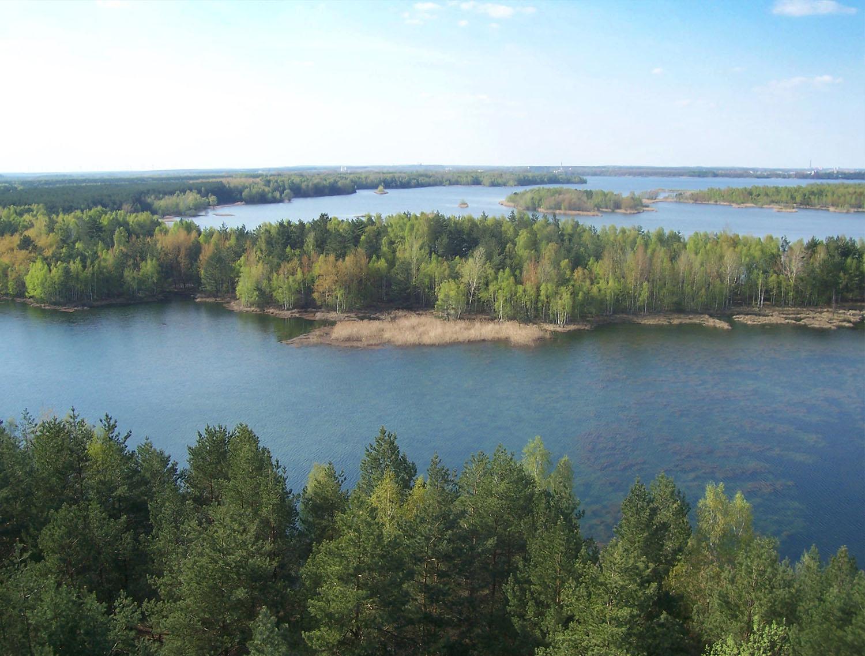 Foto der Aussicht über das Lausitzer Seenland.