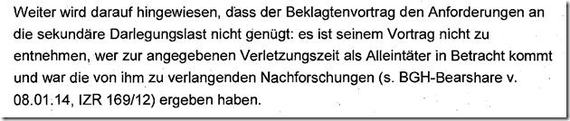 Rechtsanwalt Andreas Schwartmann AG Düsseldorf zur Nachforschungspflicht im Rahmen der sekundären Darlegungslast Urheberrechtsverletzung Familie Anwaltsleben Abmahnung