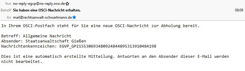 Rechtsanwalt Andreas Schwartmann beA: Eingang einer Nachricht ERV Anwaltsleben