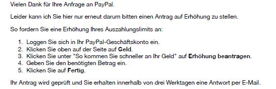 PayPal Textbaustein