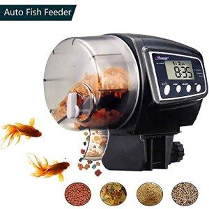 lychee Distributeur Automatique de Nourriture pour Poissons d'Aquarium,100ML Grande Capacité,Réglable Minuteur Alimentateur de Poisson Nourrisseur Automatique Numérique avec Écran LCD
