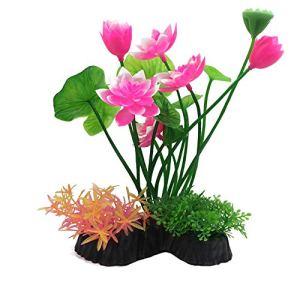 Roblue Plante Artificielle pour Aquarium Accessoires d'aquarium Fleur Herbe de Simulation Fish Tank en Plastique 13x25cm