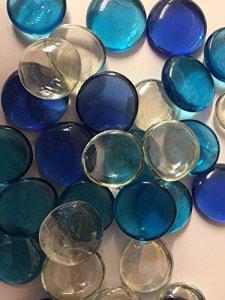 Galets de décoration en verre de couleur bleu ciel, pour aquariums, vases et décoration de tables de mariage