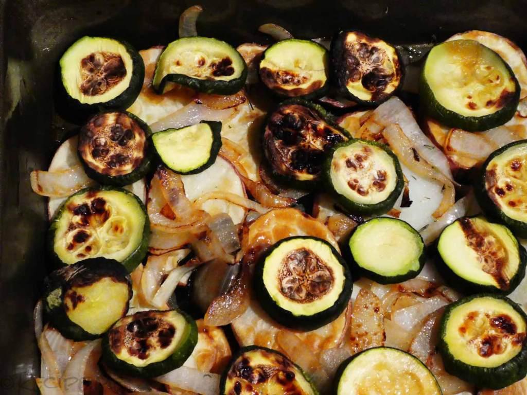 How to Make Greek Moussaka Step 8 post beschamel sauce layer ingredients