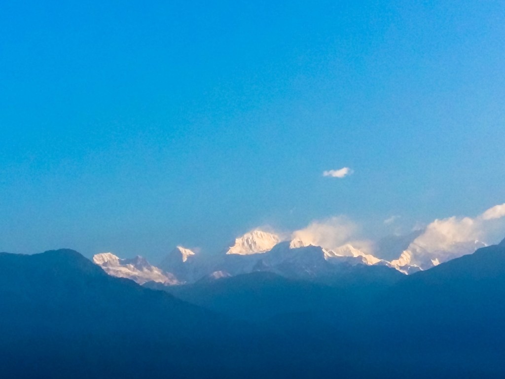 Snow capped peaks of Kanchenjunga from the hotel