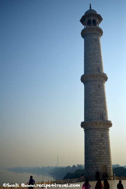 One of the minaret of the Taj Mahal. They were designed as working minarets, used by the muezzin to call the Islamic faithful to prayer
