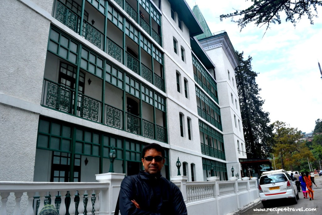 The iconic Oberoi with its green and white facade