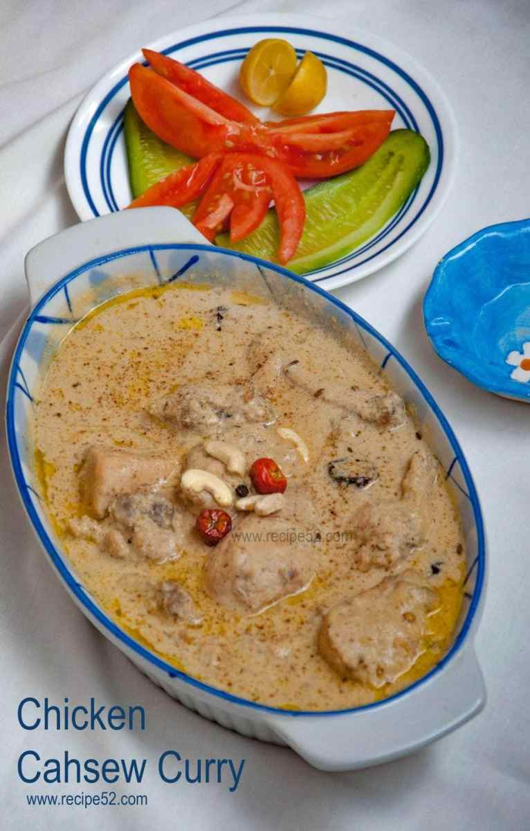 White chicken curry with cashew nuts