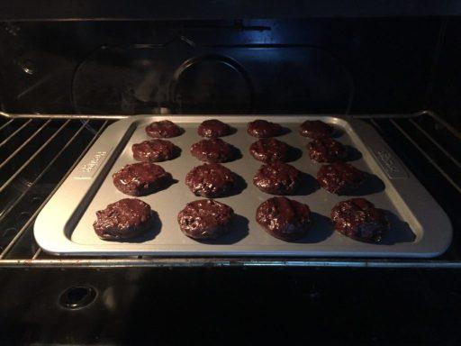 Bake double chocolate cookies in oven.