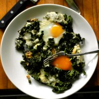 """""""Dad's Eggs""""- Simple Stovetop Eggs with Kale and Cheese"""
