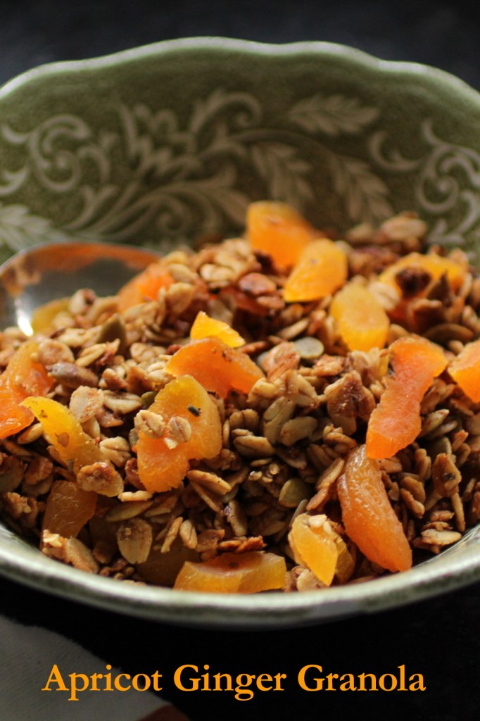 close up verticle shot homemade granola with ginger and apricot in a green and white bowl