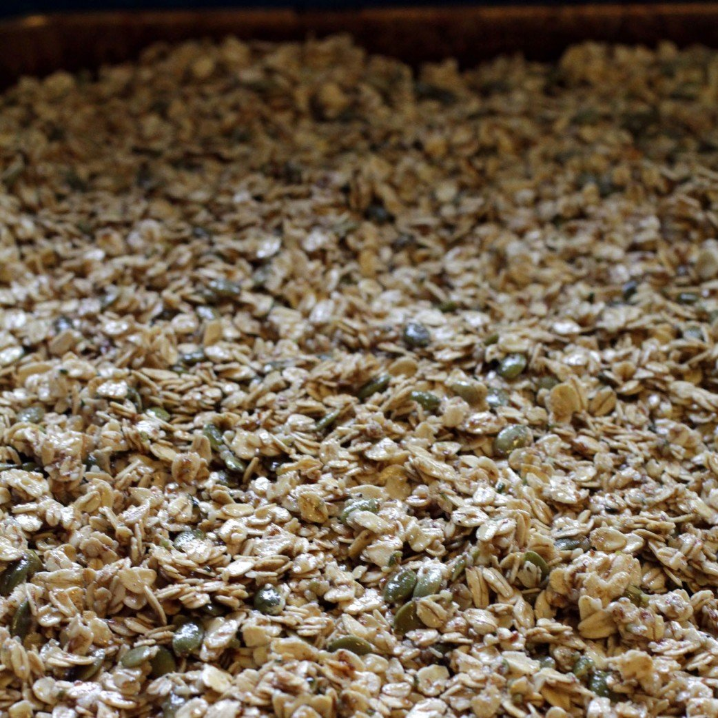 uncooked homemade granola with ginger and apricot