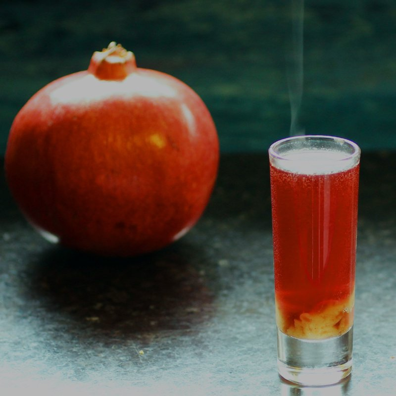 caramel pomegranate hot shot