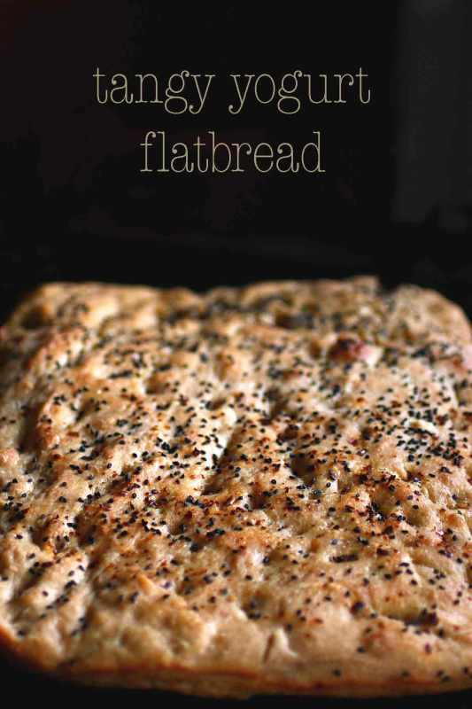Tangy Yogurt Flat Bread with charnushka seeds