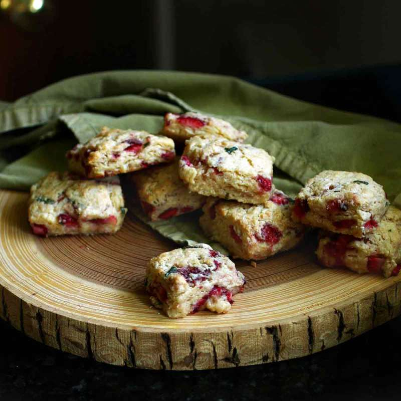 Fresh Strawberry Biscuits with Basil Butter